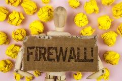 Motivational appell för begreppsmässig Firewall för handhandstilvisning Affärsfotoet som ställer ut Malware skydd, förhindrar int royaltyfri fotografi