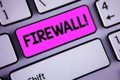 Motivational appell för begreppsmässig Firewall för handhandstilvisning Affärsfotoet som ställer ut Malware skydd, förhindrar int royaltyfria bilder