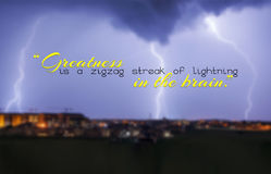 Motivational background. Greatness is a zigzag streak of lightning in the brain. Motivational background Stock Images