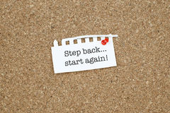 Motivational Business Phrase / Step Back Start Again Royalty Free Stock Image