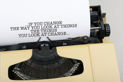 Motivational Business Quote Phrase Note Background. Motivational quotation phrase note on typewriter Royalty Free Stock Photos