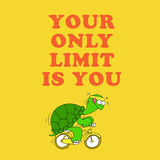Motivational card with a funny turtle Royalty Free Stock Images