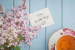 Motivational card in summer bouquet of gentle blooming lilac  an Stock Photo