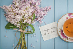 Motivational card in summer bouquet of gentle blooming lilac  an Royalty Free Stock Image