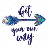 Motivational Card With Tribal Ethnic Arrow. American Indian Motifs. Royalty Free Stock Photography