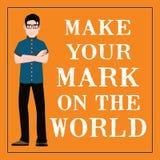 Motivational citationstecken Gör din fläck på världen Arkivfoto