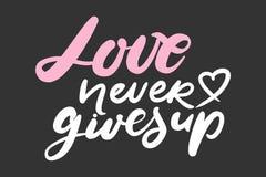 Motivational citationstecken om förälskelse Handbokstäver och egentypografi för dig stock illustrationer