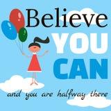 Motivational citationstecken på affischen i tecknad filmstil Royaltyfri Fotografi