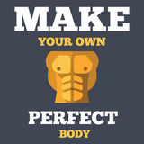 Motivational creative unusual fitness poster with. Flat icon of tanned bodybuilder athletic torso abs, vector illustration Royalty Free Stock Photos