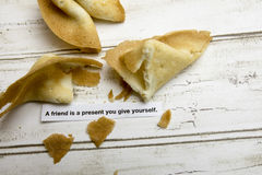 Motivational fortune cookie on friendship Stock Image