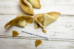 Motivational fortune cookie on self awareness Royalty Free Stock Photos