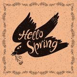Motivational handwritten lettering. Hello Spring. Motivational handwritten lettering. Romantic design element that can be used on a T-shirt, postcard, poster Stock Photography