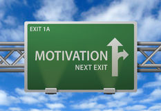 Motivational highway sign. Highway signpost offering motivational direction Stock Photos