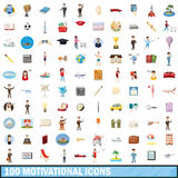 100 motivational icons set, cartoon style Royalty Free Stock Images