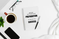 Notebook with motivational quote. Motivational and inspirational quote. Business Quote. Minimal flat lay top view concept Royalty Free Stock Photos