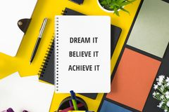 Notebook with motivational quote. Motivational and inspirational quote. Business Quote. Minimal flat lay top view concept Royalty Free Stock Images