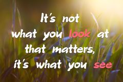 Motivational quote `It`s not what you look at that matters, it`s what you see` Stock Photography