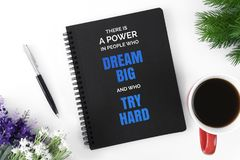 Notebook with motivational quote. Motivational and inspirational quote. Wisdom quote about life. Notebook with potted plant Royalty Free Stock Photo