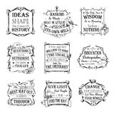 Motivational and inspirational quotes set vector illustration