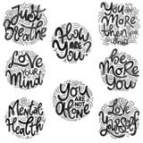 Inspirational quotes for Mental Health Day. Motivational and Inspirational quotes sets for Mental Health Day. Just breathe, how are you, you are more then your royalty free illustration