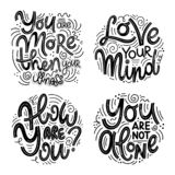 Inspirational quotes for Mental Health Day. Motivational and Inspirational quotes sets for Mental Health Day. You are more then your illness, love your mind vector illustration