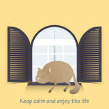 Motivational. Keep calm and enjoy life. Cute cat. Royalty Free Stock Photography