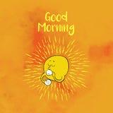 Motivational kort med solen som säger bra morgon royaltyfri illustrationer
