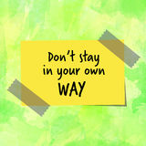 Motivational message on yellow paper note Stock Photo