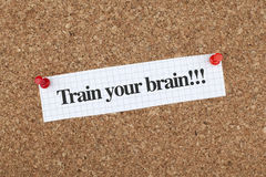 Motivational Note Train Your Brain Stock Photos