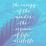 Motivational philosophy quote in typographic style with blurred vintage background. Inspirational and motivational quote. philosophy typography on blue vintage stock image