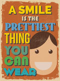 Motivational Phrase Poster. Vintage style. A Smile is the Pretti Royalty Free Stock Image