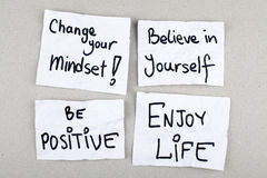Motivational Phrases / Change Your Mindset Believe in Yourself Be Positive Enjoy Life Royalty Free Stock Photography