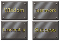 Motivational Plaques. Four motivational plaques specifying work values Stock Images