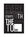 Motivational poster for a good start Stock Image