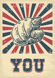 Motivational poster with hand pointing at you or the viewer listen text. Finger at viewer, from front.  Vector black vintage engra. Hand pointing finger at Stock Photos
