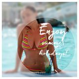 Motivational poster with summer motive. Happy young woman in swimming pool drinking cocktail. Summer vacation in resort by the poo Stock Images