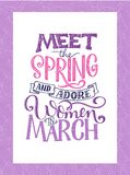 Motivational quote about March. Sweet spring inspiration, typography. Calligraphy photo graphic design element. A handwritten sign. Vector illustration Stock Photos