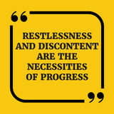 Motivational quote.. Restlessness and discontent are the necessi Royalty Free Stock Photo