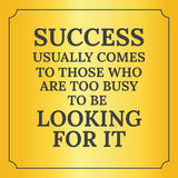 Motivational quote. Success usually comes Stock Photography