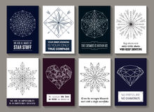 Motivational quotes cards with pictures. Vector motivational quotes on cards with images of star, compass, round ornament with arrows, snowflakes, heart and Royalty Free Stock Photo
