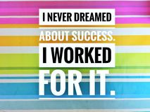 Motivational quotes of I never dreamed about success. i worked for it.  stock images