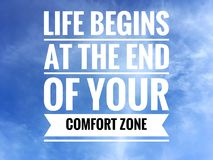 Motivational quotes on nature background a life begins at the end of your comfort zone.  stock photo