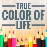 Motivational quotes of true color of life royalty free stock image