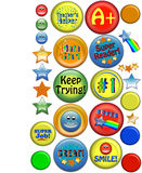 Motivational school-related badges. A fun collection of school related motivational badges, buttons or stickers stock illustration