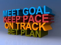 Motivational sign. With tower of words including meet goal, keep pace, on track and set plan Royalty Free Stock Photo