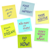 Motivational slogans - business, private, lifestyl. Assorted sticky notes, easily moved from background Royalty Free Stock Photos