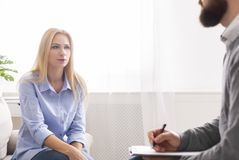 Motivational speaker encouraging client to do personal challenges. Women attentively listening to coach, free space stock photos