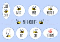 Motivational quotes with cute bee, vector sticker set royalty free stock photo