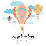 Motivational travel card with emotional phrase, hot air balloon, clouds. Stock Images