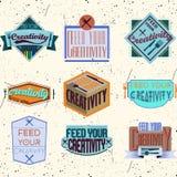 Motivational typografidesign Retro och tappning Fotografering för Bildbyråer